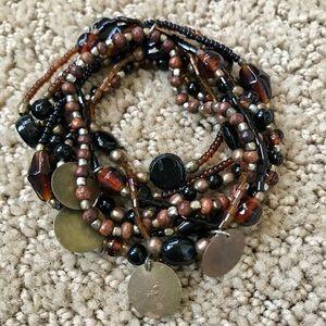 Jewelry - Set of 8 Bohemian Beaded Coin Stretch Bracelets